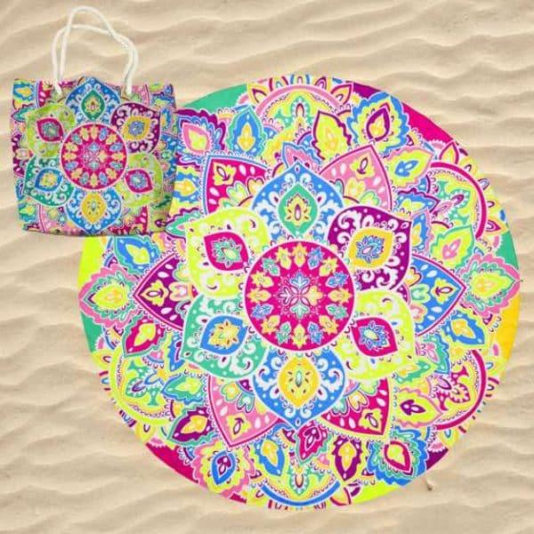 Toalha de Praia Microfibra Redonda Mandala Lótus Psicadélico com Saco