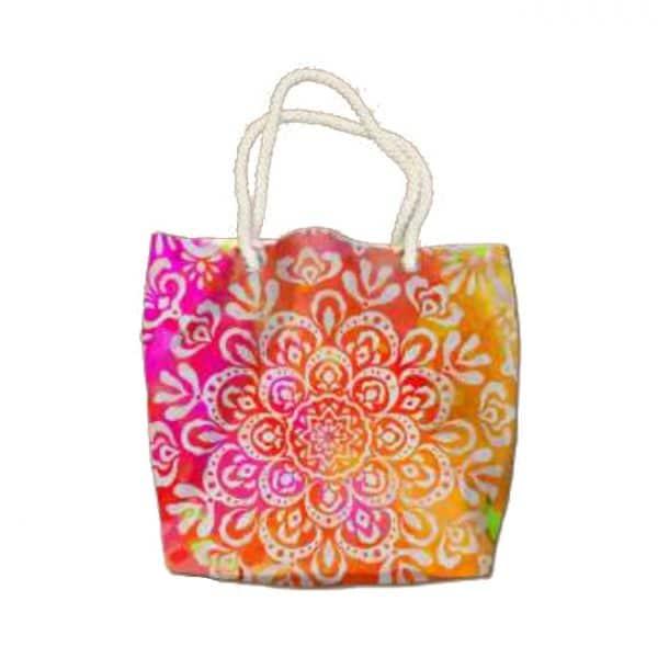Saco da Toalha de Praia Microfibra Redonda Mandalas Flores Multicolorida