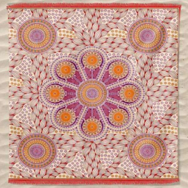 Toalha Grande Indiana Mandala Flor 240 x 210 cm