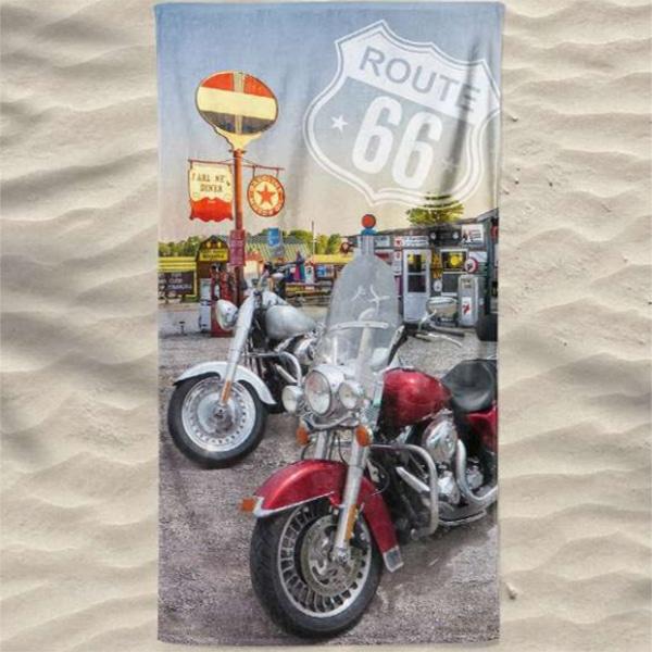 Toalha Praia Microfibra Harley Davidson Route 66