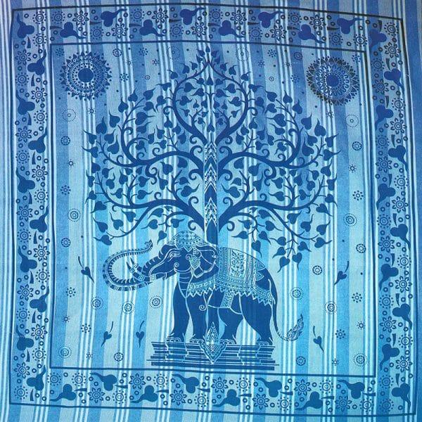 Toalha Grande Indiana Azul Riscas Elefante Árvore 240 x 210 cm