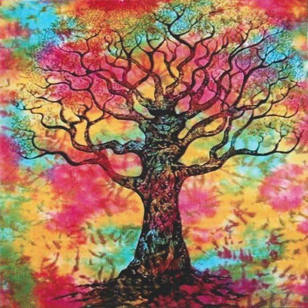 Toalha Grande Indiana Multicolorida 240 x 210 cm Árvore