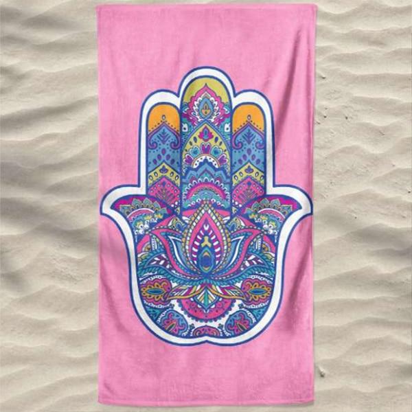 Toalha de Praia Microfibra Mão Turca Rosa