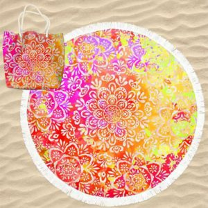 Toalha de Praia Microfibra Redonda Mandalas Flores Multicolorida com Saco