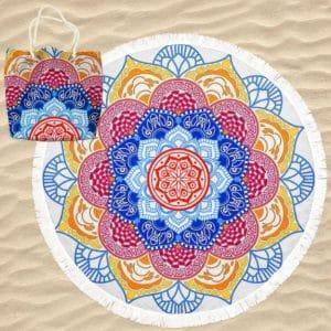 Toalha de Praia Microfibra Redonda Mandala Lótus com Saco