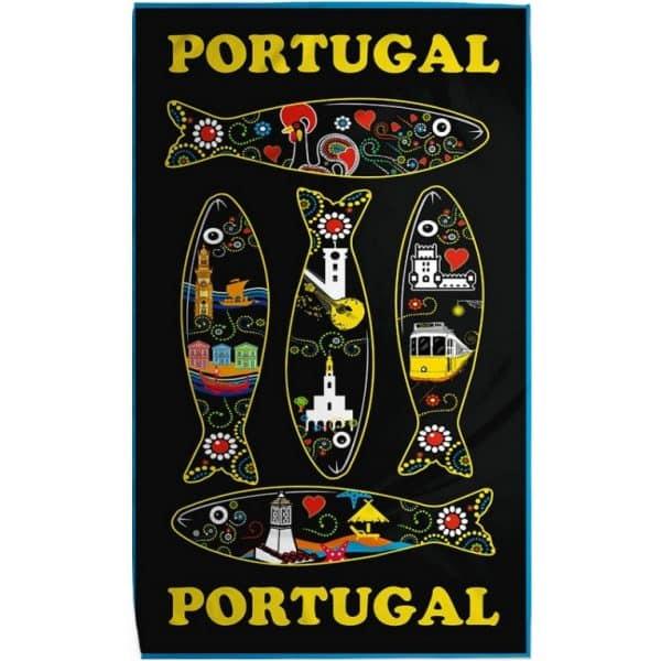 Toalha de Praia Microfibra Sardinhas Portugal Preta