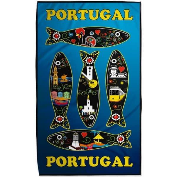 Toalha de Praia Microfibra Sardinhas Portugal Preta e Azul