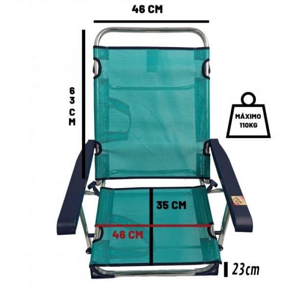 Cadeira de Praia de Alumínio Reclinável até Deitar com Alças Alco Ciano
