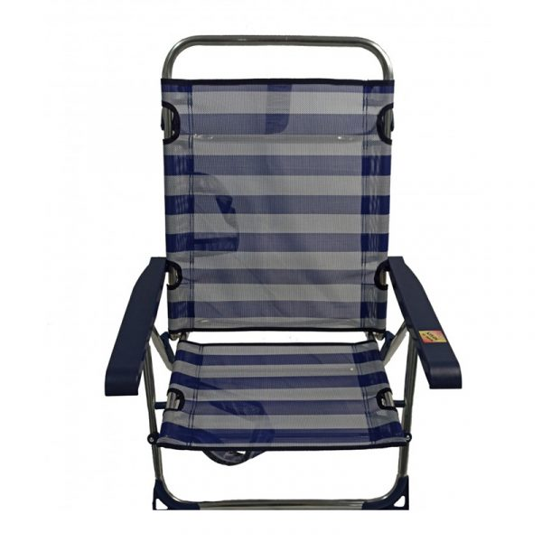 Cadeira de Praia de Alumínio Reclinável até Deitar com Alças Alco Riscas (Azul e Branco)