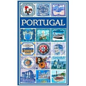 Toalha de Praia Microfibra Azulejos Temas Alusivos a Portugal