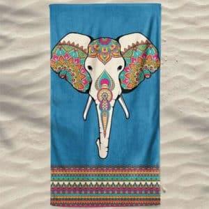 Toalha de Praia Microfibra Elefante Mandalas