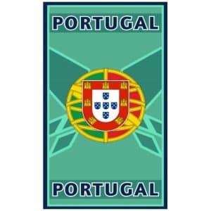 Toalha de Praia Microfibra Portugal Escudo Ciano