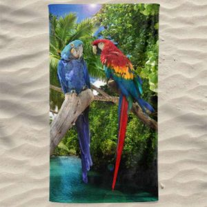 Toalha de Praia Microfibra Papagaios